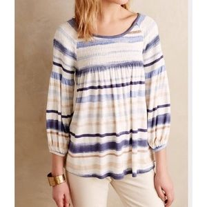 Anthropologie Meadow Rue Striped Peasant Top